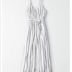 AE Striped Button Front Culotte Jumpsuit